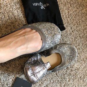 Yosi Samra silver glitter ballet flats size 8